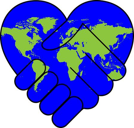 mundo azul em forma de coração e como duas mãos em aperto de saudação, com os continentes a verde