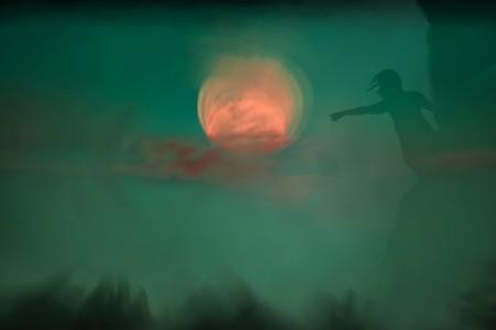 abstração: luar noite silhueta