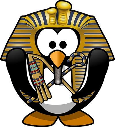 pinguim com máscara de tutankhamon