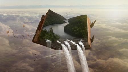 livro sobrevoando paisagem e despejando torrentes de água sobre ela