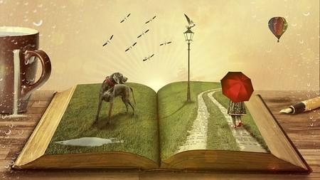 composição dentro de livro gigante e relvado: um cão, uma menina de guarda chuva,