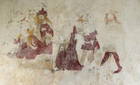 a adoração dos magos num mural desvanecido