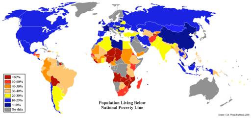 mapa da pobreza mundial