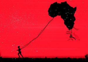 menino que puxa o mapa de áfrica como se fosse um papagaio