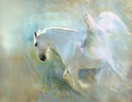 cavalo voador em pintura