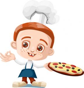 desenho de menino cozinheiro com pizza