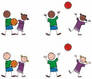 desenhos de crianças a jogar à bola