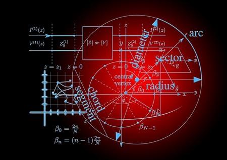 fórmulas matemáticas em tons de azul claro e de vermelho escuro