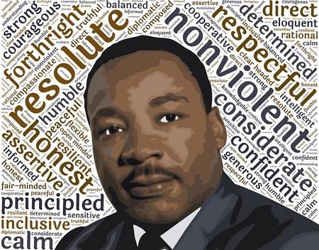 rosto de Martin Luther King sobre fundo de palavras chave da sua epopeia