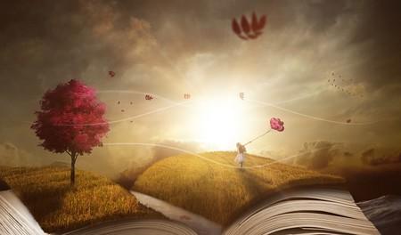 jovem dançando sobre livro gigante