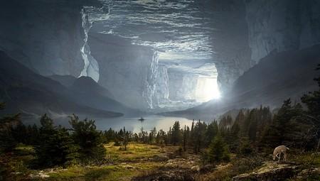 gruta de fantasia com lago interior