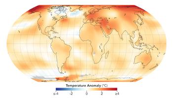 gráfico do aumento gradual da temperatura no planeta