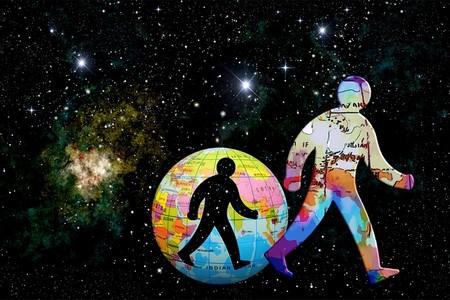 astros, planeta, homem sobre fund onegro