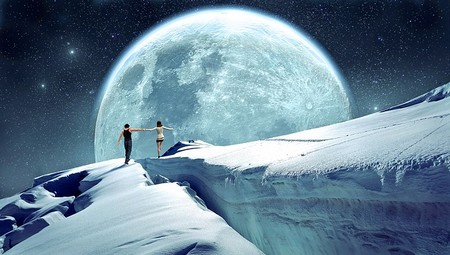 lua, gelo, par de mãos dadas