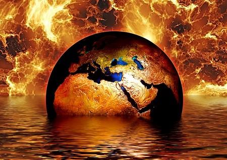 globo no mar rodeado de chamas