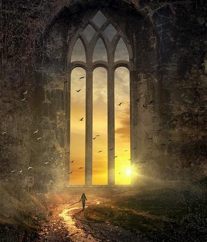 janela de fantasia e personagem minúscula empunhando uma espada