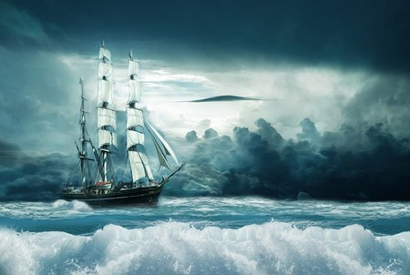 navio entre as ondas