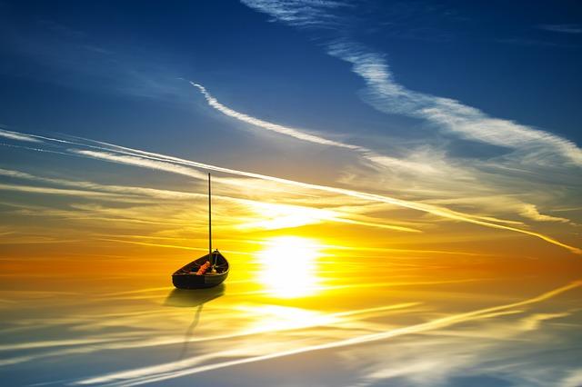 barco ao poente