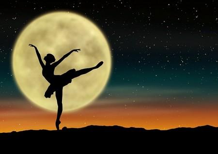 bailarina e lua cheia