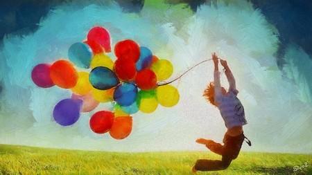 Menino esvoaçando com balões