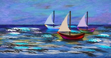 barquinhos no mar