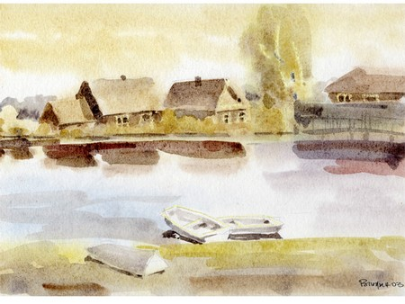 casa à beira do lago pintura