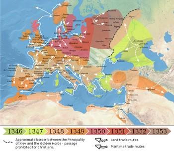 difusão da peste negra na europa